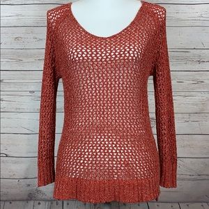 Lucky Brand Crochet Knit Rust Red Pullover Sweater